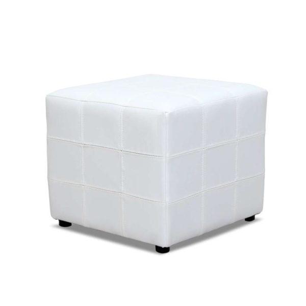 TEMPO KONDELA Taburet, biela textilná koža, NELA