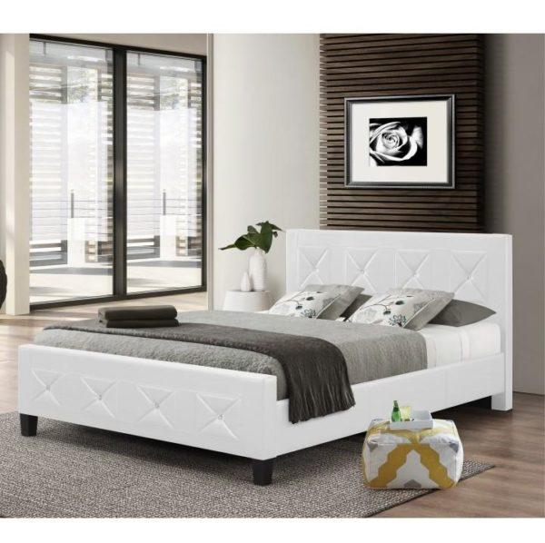 TEMPO KONDELA Manželská posteľ s roštom, ekokoža biela, 180x200, CARISA