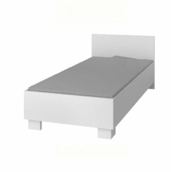 TEMPO KONDELA Posteľ 90/200, DTD laminovaná + ABS hrany, biela, SVEND