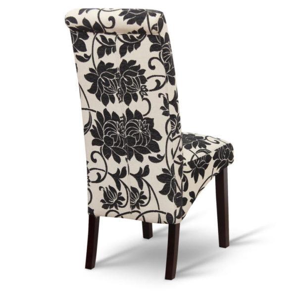 TEMPO KONDELA Jedálenská stolička, biela s čiernymi kvetmi/tmavý orech, JUDY 2 NEW