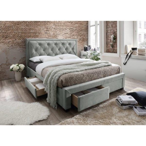 TEMPO KONDELA Manželská posteľ, sivohnedá, 180x200, OREA