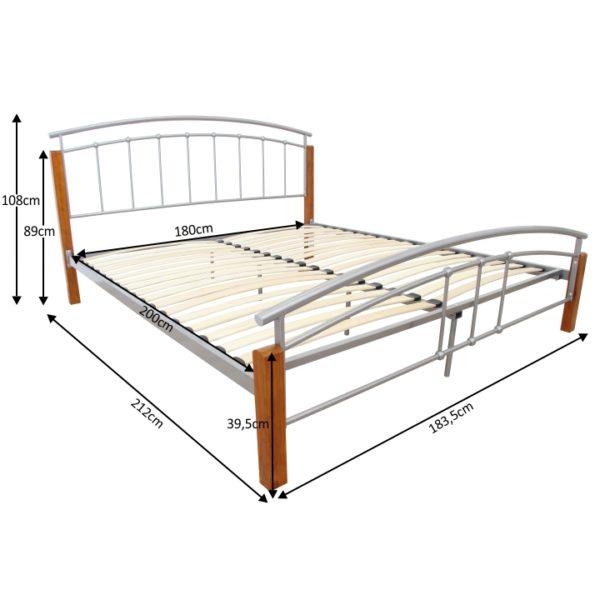 TEMPO KONDELA Manželská posteľ, drevo jelša/strieborný kov, 180x200, MIRELA