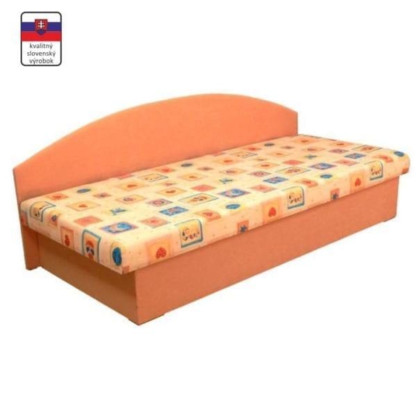 TEMPO KONDELA Celočalúnená váľanda so sendvičovým matracom, oranžová/vzor, EDVIN 03