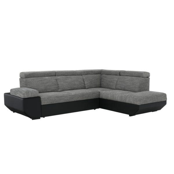 TEMPO KONDELA Akron P rohová sedačka s rozkladom a úložným priestorom čierna / melírovaná