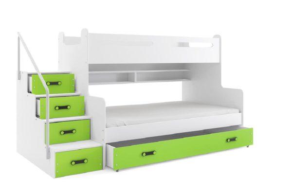 Expedo.sk Poschodová posteľ XAVER 3 + ÚP + matrac + rošt ZADARMO, 120x200 cm, biela, zelená