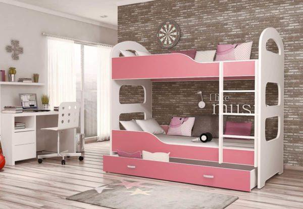 Expedo.sk Detská poschodová posteľ PATRIK 160x80 cm, biely/ružový