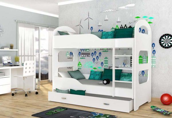 Expedo.sk Detská poschodová posteľ PATRIK 160x80 cm, biely/biely