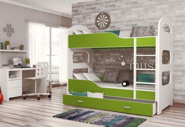 Expedo.sk Detská poschodová posteľ PATRIK 180x80 cm, biely/zelený