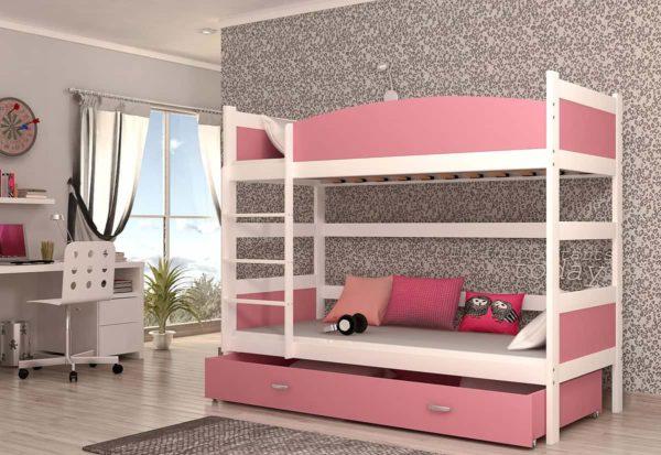 Expedo.sk Detská poschodová posteľ so zábranou SWING, 190x90 cm, biely/ružový