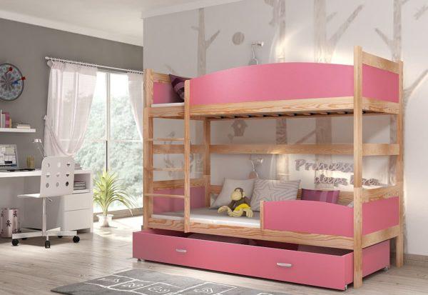 Expedo.sk Detská poschodová posteľ so zábranou SWING, 190x90 cm, borovica/ružový