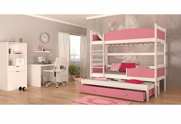 Expedo.sk Detská poschodová posteľ s prístelkou SWING3, 190x90 cm, biely/ružový