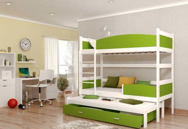 Expedo.sk Detská poschodová posteľ s prístelkou SWING3, 190x90 cm, biely/zelený