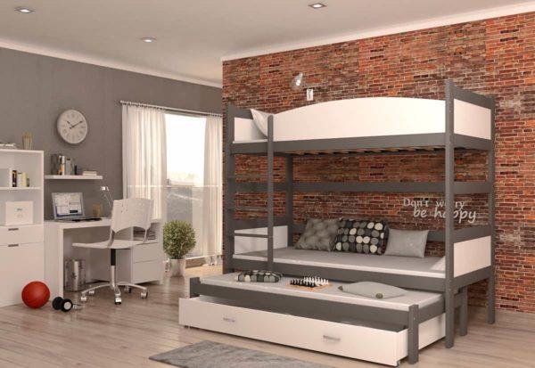 Expedo.sk Detská poschodová posteľ s prístelkou SWING3, 190x90 cm, biely/šedý