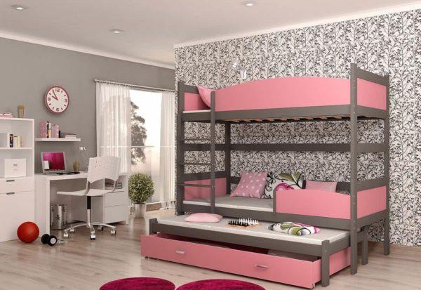 Expedo.sk Detská poschodová posteľ s prístelkou SWING3, 190x90 cm, šedý/ružový