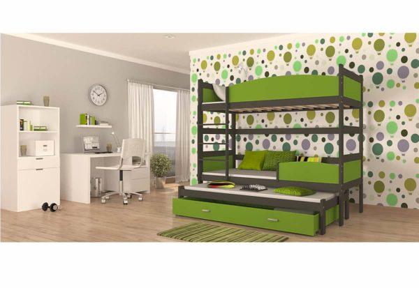 Expedo.sk Detská poschodová posteľ s prístelkou SWING3, 190x90 cm, šedý/zelený
