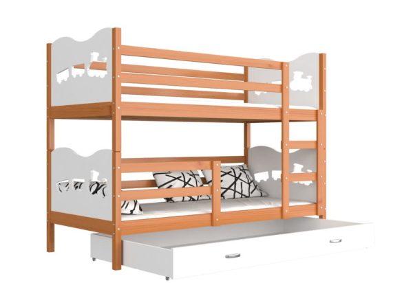 Expedo.sk Detská poschodová posteľ FOX, 190x80 cm, jelša/biely - srdiečka