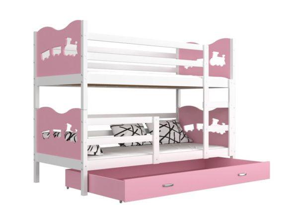 Expedo.sk Detská poschodová posteľ FOX COLOR, 190x80 cm, biely/ružový - srdiečka
