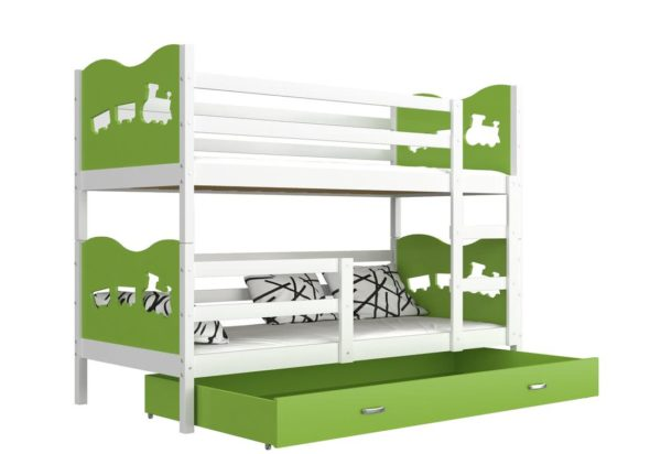 Expedo.sk Detská poschodová posteľ FOX COLOR, 190x80 cm, biely/zelený - vláčik