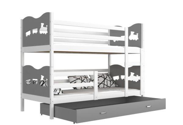 Expedo.sk Detská poschodová posteľ FOX COLOR, 190x80 cm, biely/šedý - vláčik