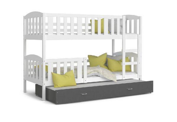 Expedo.sk Detská poschodová posteľ KUBA 3 color + matrac + rošt ZADARMO, 184x80 cm, biela/šedá