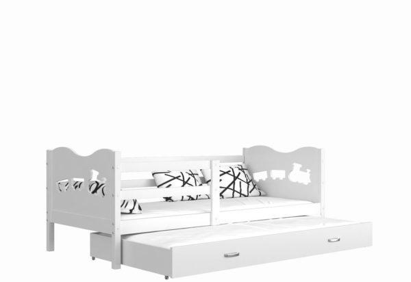 Expedo.sk Detská drevená posteľ FOX P2 color + matrac + rošt ZADARMO, 184x80 cm, biela/motýl/biela