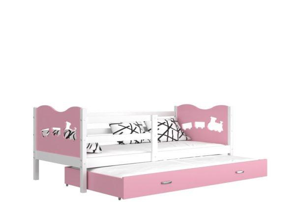 Expedo.sk Detská drevená posteľ FOX P2 color + matrac + rošt ZADARMO, 184x80 cm, biela/srdce/ružová