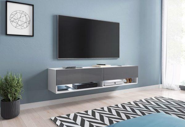 Expedo.sk TV stolek MENDES A 140, 140x30x32, bílá/šedá lesk, bez LED osvětlení