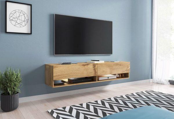 Expedo.sk TV stolek MENDES A 140, 140x30x32, dub Wotan, s LED osvětlením