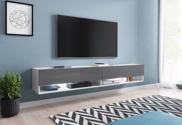 Expedo.sk TV stolek MENDES A 180, 180x30x32, bílá/šedá lesk, s LED osvětlením