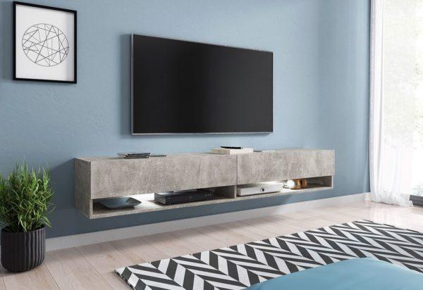Expedo.sk TV stolek MENDES A 180, 180x30x32, beton, s LED osvětlením