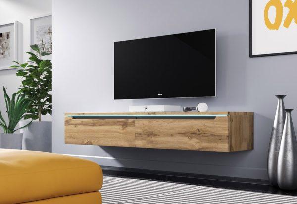 Expedo.sk TV stolek MENDES DES I 140, 140x24x33, dub Wotan, bez LED osvětlení