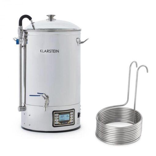 Klarstein Mundschenk + Aufwärtsspirale, sladový kotol a ponorný chladič, zariadenie na varenie piva, 2500 W, 30 l, 304 ušľachtilá oceľ