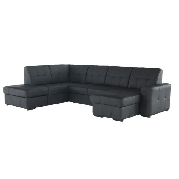 TEMPO KONDELA Trek L kožená rohová sedačka u s rozkladom čierna