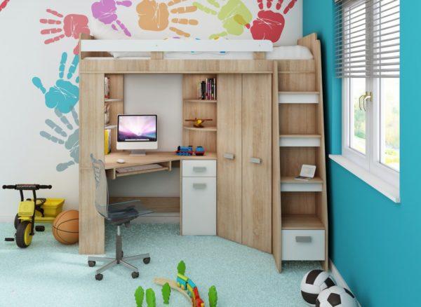 MEBLOCROSS Antresola P zostava do detskej izby sonoma svetlá / biela