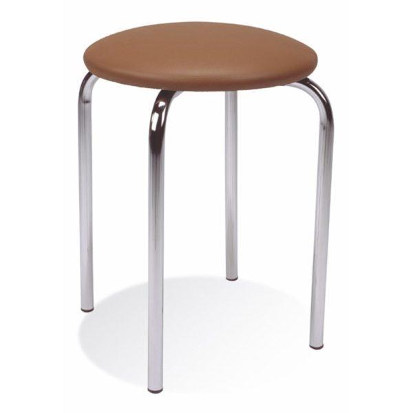 NOWY STYL Chico stolička bez operadla chrómová / tmavohnedá (V62)