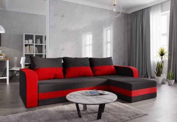 Expedo.sk Rohová rozkládacia sedačka WELTA, 242x72x140, čierná/červená, mikrofáze04/46