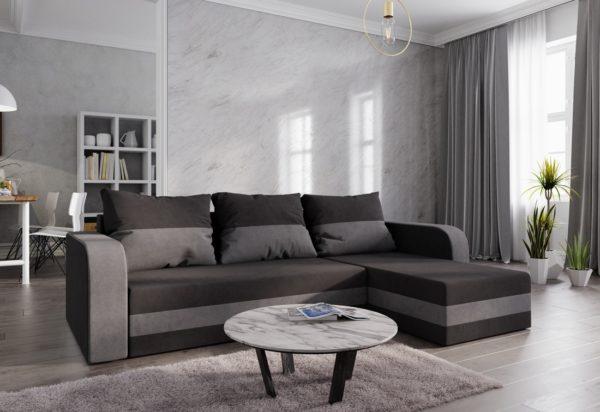 Expedo.sk Rohová rozkládacia sedačka WELTA, 242x85x144, čierná/šedá, mikrofáze04/10