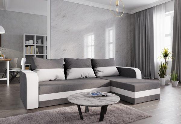 Expedo.sk Rohová rozkládacia sedačka WELTA, 235x72x140, šedá/biela, mikrofáze10/biela