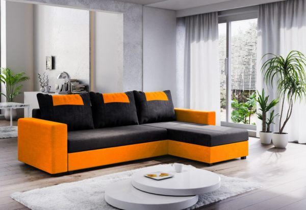 Expedo.sk Rohová rozkládací sedačka COOPER, 232x144, černá/oranžová, mikrofáze04/U064