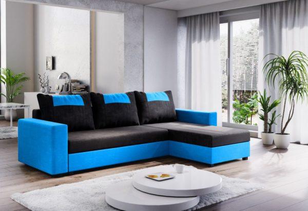 Expedo.sk Rohová rozkládací sedačka COOPER, 232x144, černá/světle modrá, mikrofáze04/U018