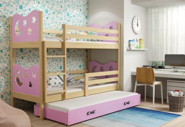 Expedo.sk Poschodová posteľ KAMIL 3 + matrac + rošt ZADARMO, 80x190 cm, borovica, ružová
