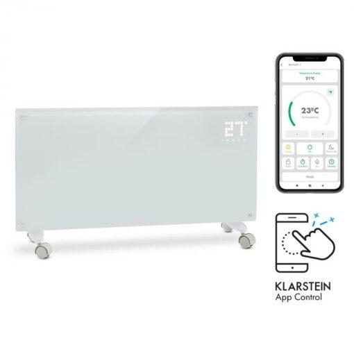 Klarstein Bornholm Smart, konvekčný ohrievač, 2000 W, WiFi, LED displej, časovač, IP24, biely