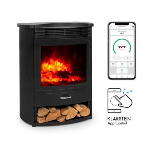 Klarstein Bormio S Smart, elektrický krb, 950/1900 W, termostat, týždenný časovač, čierny