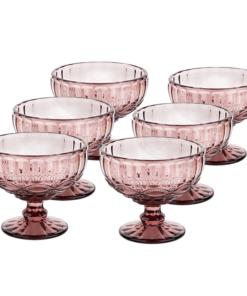 Vintage sklené poháre na zmrzlinu, 6ks, 300ml, ružová, FREGATA TYP 5