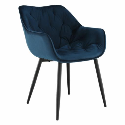 Dizajnové kreslo, modrá Velvet látka, FEDRIS