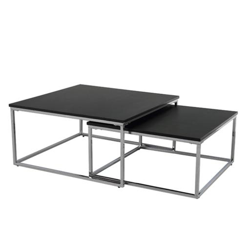 Set dvoch konferenčných stolíkov, čierna/chróm, AMIAS, poškodený tovar